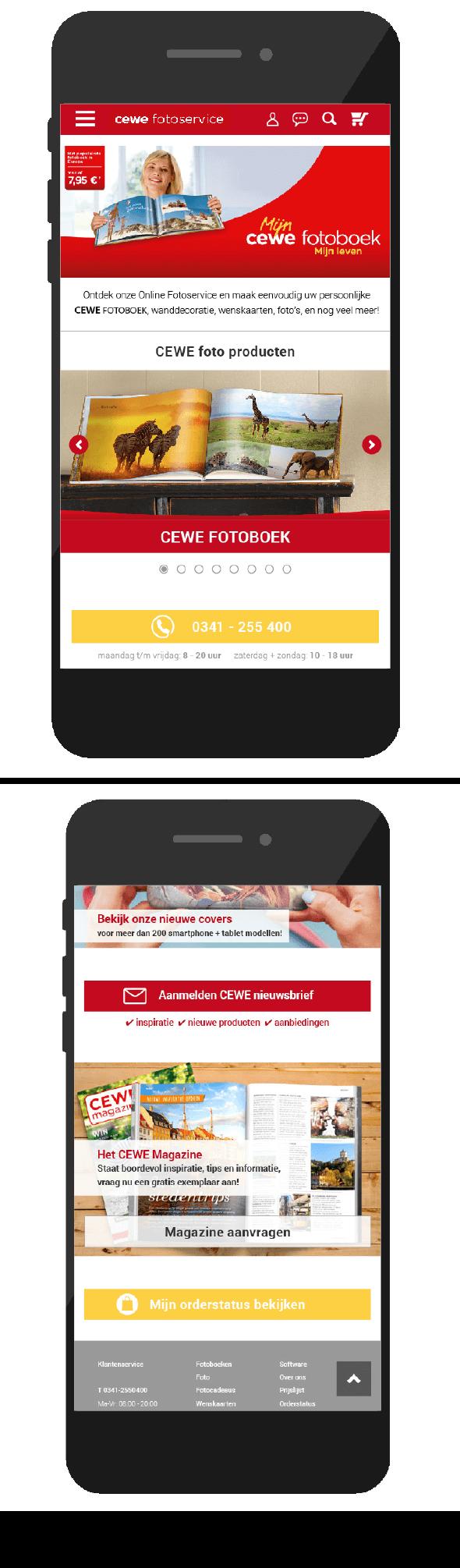 Homepage mobiel CEWE