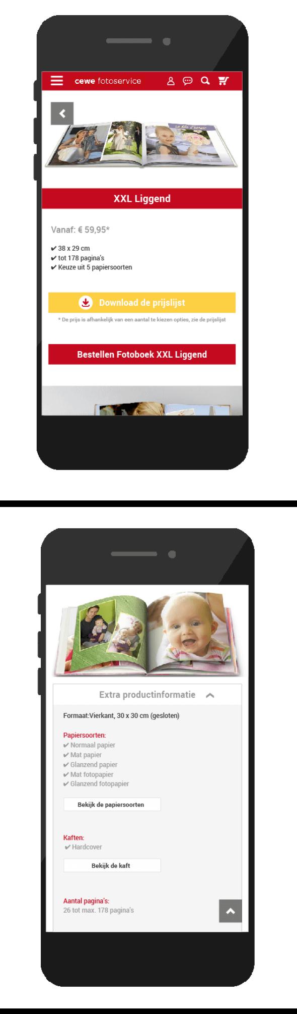 Productpagina's mobiel CEWE
